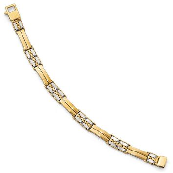 Men's 9mm 14k Two Tone Gold Polished and Brushed Link Bracelet, 8 Inch