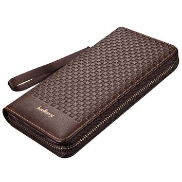 Famous baellerry brand long Knitting pattern business wallet Men's leather purse large capacity clutch bag for man