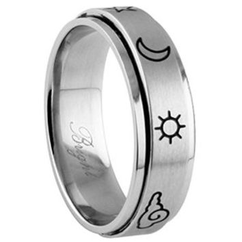 316 Stainless Steel Spinner Ring - Laser Etched Nature Glyph Symbols Design