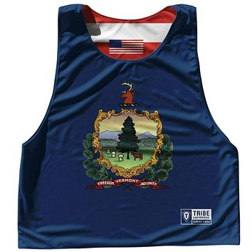 Vermont State Flag and American Flag Reversible Lacrosse Pinnie