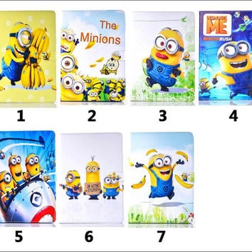 New Precious Milk Dad case cover for ipad mini Despicable me for ipad pro 9.7 case Minion Cartoon Leather Cover