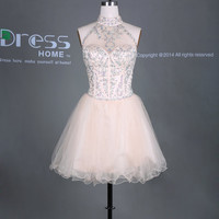 Sexy Light Champagne High Collar Beading Rhinestones Ruffles Tulle Short Homecoming Dress/Luxury Mini Party Dress/Open Back Prom Dress DH295