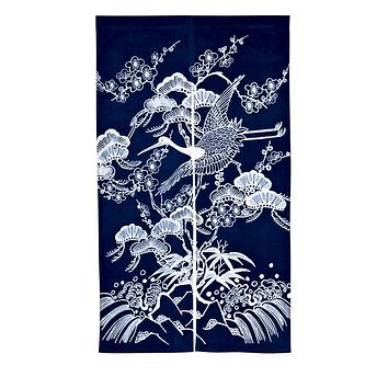 Japanese Noren Cotton Curtain Blinds Tsuru to Shochiku Meigara Navy