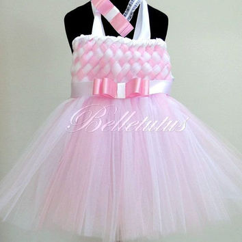 White and pink – woven tutu dress – girl tutu dress – baby tutu dress – wedding tutu dress – birthday tutu dress – party tutu dress