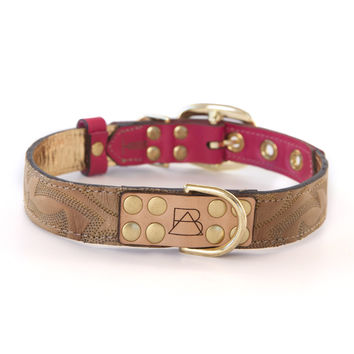 Hot Pink Dog Collar with Light Brown Leather + Tan Stitching