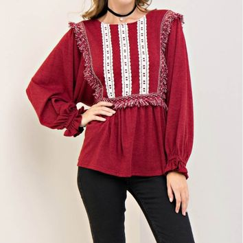 Fringe and Embroidery Peplum Top