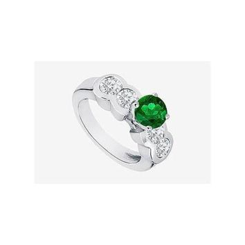 MDIGMS9 Emerald 2 Ct. Engagement Ring in 14K White Gold side Cubic Zirconia  with TGW 3.20 carats