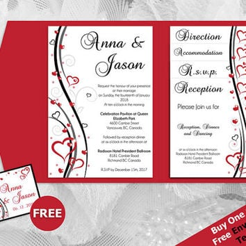 DIY Printable Wedding Pocket Fold Invitation Set A7 5 x 7 | Editable MS Word file | Red Black Double Heart Romance