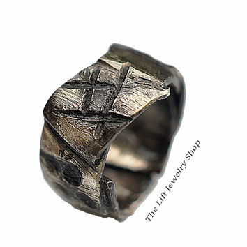 Custom Sterling Silver Freeform Ring 9.25mm - Unisex Silver Engagement Ring, Layered Multi Texture Ring band,  Patches, Oxidized Silver Jewelry