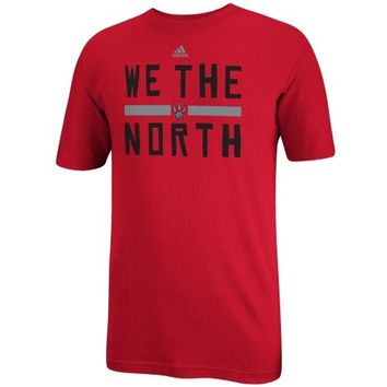 Mens adidas Red Toronto Raptors We the North Playoffs Slogan T-Shirt