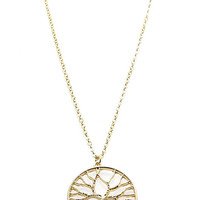 NECKLACE / TREE OF LIFE / CUTOUT METAL PENDANT / TEXTURED / LINK / CHAIN / 18 INCH LONG / 1 1/4 INCH DROP / NICKEL AND LEAD COMPLIANT