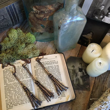 Witches Broom Necklace Broomstick Necklace Halloween Necklace Pendant charm Witch Jewelry Gothic Goth Costume Jewelry Wizard Magic Wand