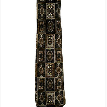 Vintage CHRISTIAN DIOR Monsieur Paris Black Gold Edwardian Neoclassic Pattern All Silk Necktie - Sophisticated Choice