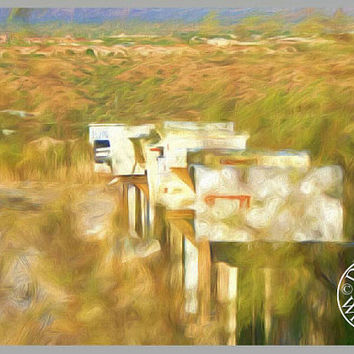 Country Living Oil Painting Photography Print Fine Art Wall Art Decor Southwest Art Arizona Desert Art Mailboxes
