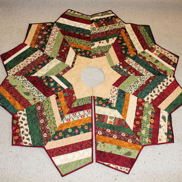 Christmas Tree Skirt String Pieced and Quilted with Royal Holiday by Deb Strain from Moda - Gold Star - Housewarming Gift