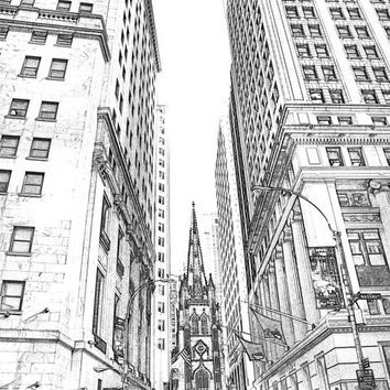 NYC Instant Download Sketch Lower Manhattan NYC Print   -  Sketch 8x10  Drawing New York City Fine Art