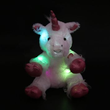 30cm/40cm LED Night Glowing Unicorn Stuffed Animal Toys Colorful Flashing Unicorn Dolls Lovely Gifts for Kids and Girls
