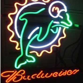 Business Custom NEON SIGN board For LED Miami Dolphins American Footbal GLASS Tube BEER BAR PUB Club Shop Light Signs 16*15""