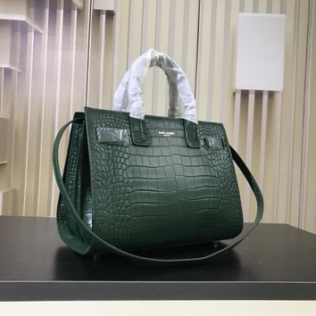 DCCK S008 Saint Laurent Paris Fashion Crocodile-striped cowhide Handbag 32cm Green