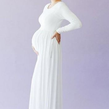 White Pockets Draped Round Neck Long Sleeve Maternity Baby Shower Maxi Dress