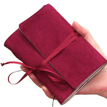 Fabric faux suede journal artist's travel map medium diary book sketch hand sewn blank pages vegan pocket size burgundy red ruby maroon