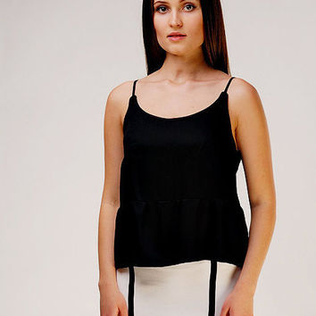 Designer Unique Elegant Black Camisole / Viscose Top / Open Back Top / Slim Straps Top / Black Top / Evening Top