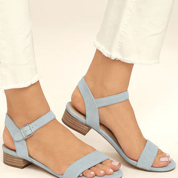 Steve Madden Cache Light Blue Suede Leather Heeled Sandals