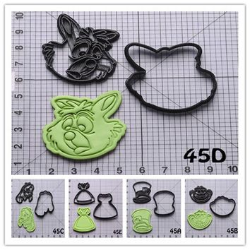 Alice in Wonderland Character Cookie Cutter Set Custom Made 3D Printed Fondant Cake Decoration Tools Kitchen Accessories