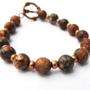 Leopardskin Jasper Bracelet for a Small-Medium Sized Wrist