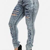 Ripped High-rise Acid Wash Skinny Jeans