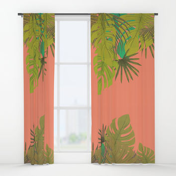 Tropical leaves 02 Window Curtains by naturalcolors