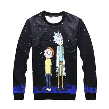 PLstar Cosmos 2017 Autumn hot sale Newest Men Women fashion sweatshirt Cartoon Rick and Morty printed casual Crewneck Sweatshirt