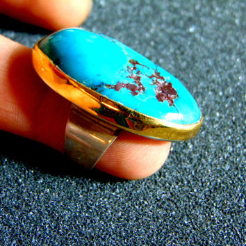 Stunning chunky turquoise statement ring-Silver and gold women's statement ring-Turquoise ring for women- Women's vintage rings-Artisan ring