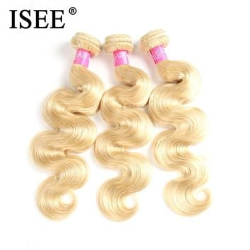 ISEE Brazilian Body Wave 613 Blonde Hair 100% Human Hair Bundles Remy Hair Extension Machine Double Weft Hair Weaving