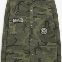 Camo Emblems Coat in Army Green or Olive Green