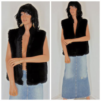 Faux fur vest, size M / L, black mink fake fur vest, Frankly My Dear, USA, boho