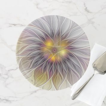 Luminous Colorful Flower, Abstract Modern Fractal Cake Stand