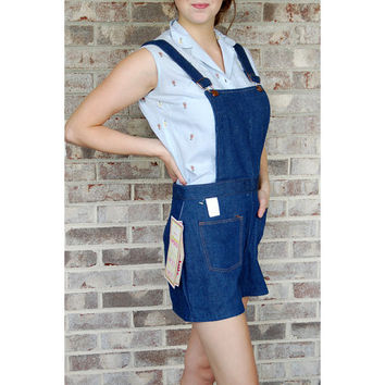 1960s denim overalls, bib overalls, denim overall shorts, Maverick denim shorts, jeans shorts, Deadstock, Denim romper, Size M