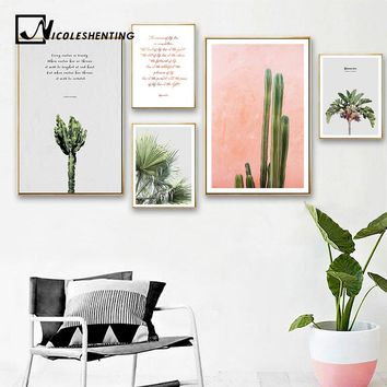 Scandinavian Cactus Leaf Canvas Poster Motivation Minimalist Nordic Style Wall Art Print Painting Decoration Picture Home Decor