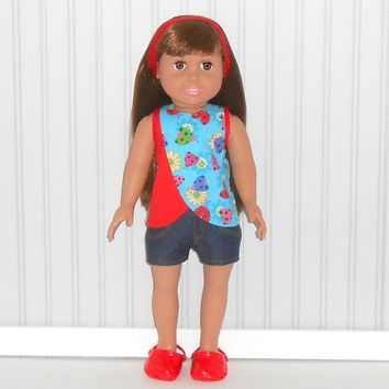 American Girl Doll Clothes Red Ladybugs Cross Over Top with Denim Jean Shorts and Headband fits 18 inch dolls