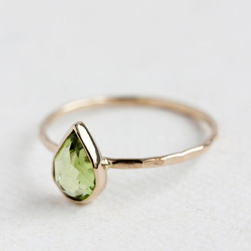 Peridot gold ring, August birthstone, rose cut, pear cut, solid 14k gold thin stacking ring, eco friendly, birthstone jewelry