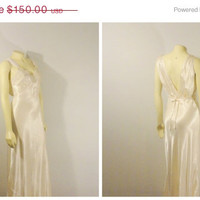 SALE Vintage Nightgown 30s 40s Ivory Art Deco Rayon Satin Old Hollywood Glamour Gown Bias Cut Modern Size Small to Medium