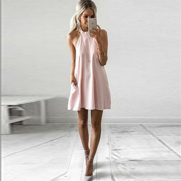 Slim Summer Women's Fashion Pink One Piece Dress [11739597455]
