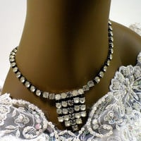 1960s Clear & Frosted Rhinestone Bib Necklace, Bridal Necklace, Summer Jewelry, Victorian Revival, Downton Abbey Style