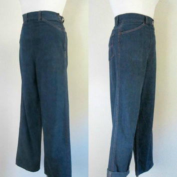 Vintage Side Zipper Denim Jeans / 1940s 1950s Dungaree Pants / Ranch Craft Boyfriend Blue Jeans