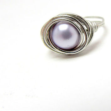 Wire Wrapped Lilac Pearl Ring, Sterling Silver Wire Ring, Swarovski Pearl Ring, Wedding Jewelry, Women's Ring