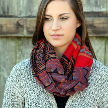 Sale Boho Scarf- Red scarf , Tribal Poncho Scarf - Aztec Shawl Scarf - knitted scarf - Burned orange, Fall color scarf