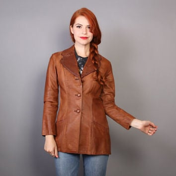 70s Glasswater LEATHER JACKET / Boho Fitted 2-Tone Brown Custom Made Jacket, xs