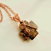 Greek cross necklace, artistic jasper pendant, orthodox cross, square cross, Montana made, copper necklace, Christmas gift, talisman, winter
