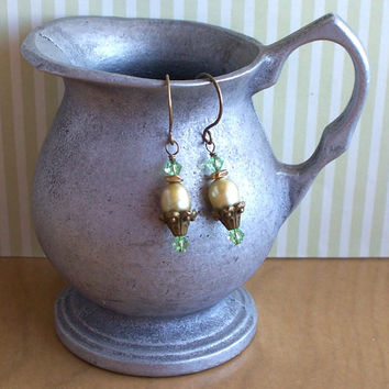 Good To Be Green - Freshwater Pearl Swarovski Crystal And Brass Earrings